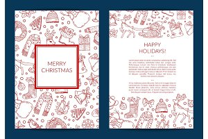 Vector hand drawn christmas elements with santa, xmas tree, gifts and bells card template