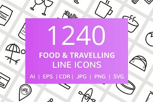 1240 Food & Travelling Line Icons