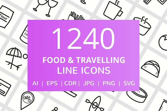 1240 Food Travelling Line Icons