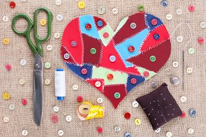 Sewing accessories. Valentine's Day