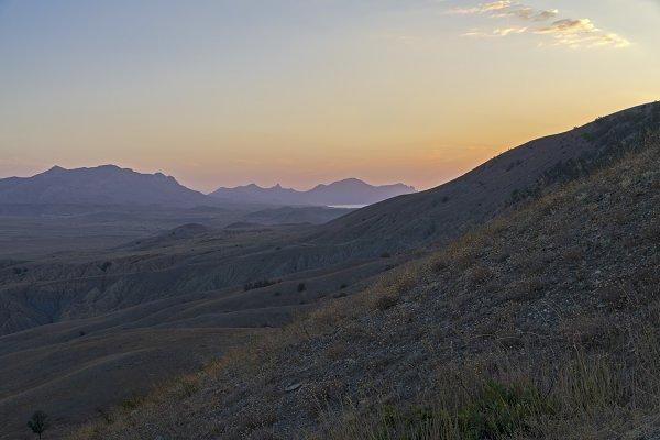 Dawn in the Crimean mountains.