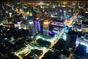 Night Bangkok cityscape.