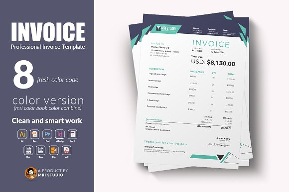 Creative Invoice Template Stationery Templates Creative Market - Product invoice template