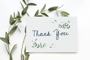 Aerial view of thank you card