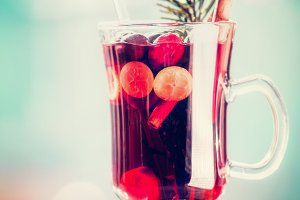 Glass of spiced mulled wine