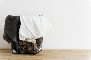 Used clothes in a basket