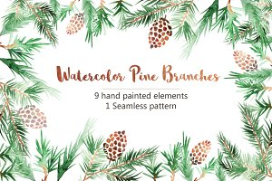 Watercolor Pine Branches Mini Set