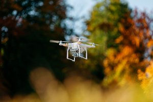 Drone flying in an Autumn Forest