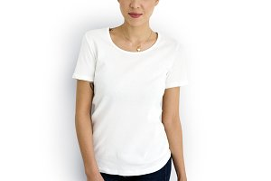 Caucasian woman in white tee (PNG)