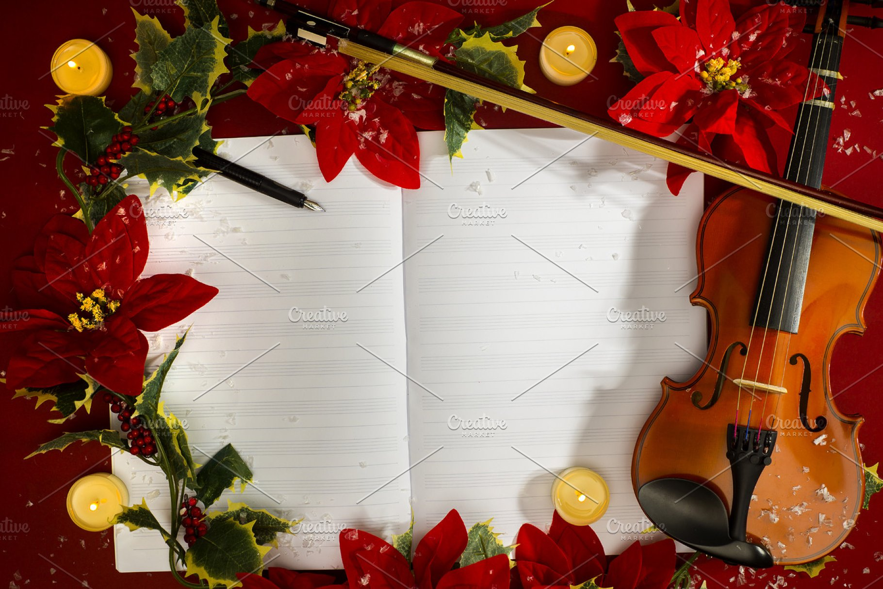 Christmas Violin.Violin And Open Music Manuscript On The Red Background Christmas Concept