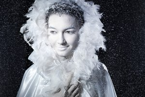 Close-up portrait Snow Queen.