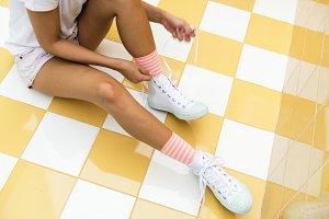 Closeup of woman feet