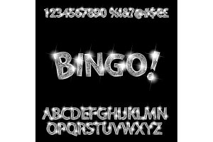 Bingo. Silver glowing alphabet