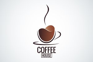 Coffee cup logo design background.