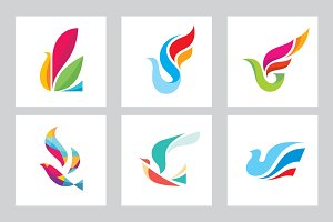Abstract Bird - Vector Logo Sign Set