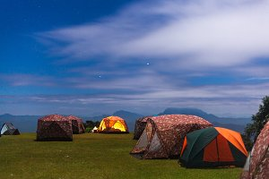 Tent camping on the lawn.