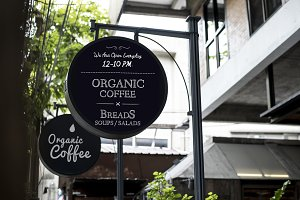 Organic coffee advertisement