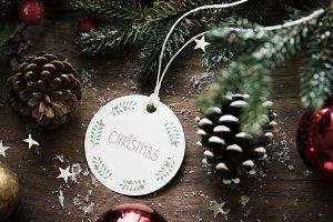 Christmas wishing card tag (PSD)