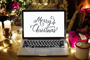 Laptop on Christmas day (PSD)