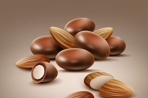 Almond nuts in chocolate shell