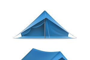 Blue tourist tents