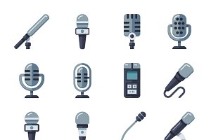 Microphone flat vector icons