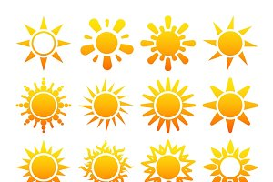 Yellow sun vector icons