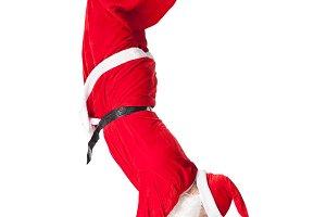Santa Claus standing head over feet