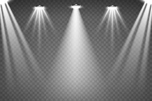 Scene with glowing spotlights