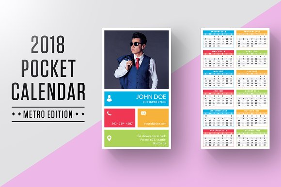 Pocket Calendar 2018 Stationery Templates Creative Market