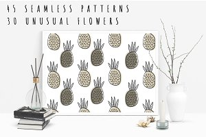 Unusual set floral vector patterns