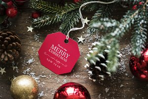 Christmas wishing card tag (PSD)