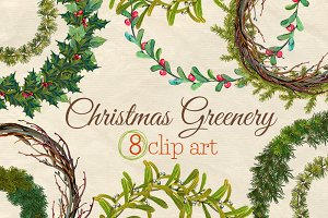 Christmas Greenery Wreaths clip art