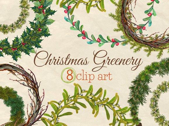 christmas greenery wreaths clip art illustrations - Christmas Greenery
