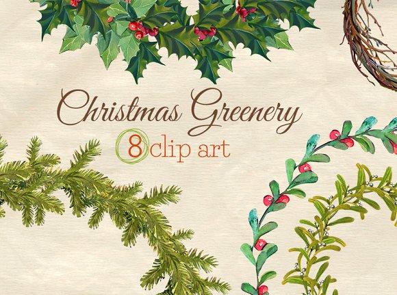 christmas greenery wreaths clip art illustrations creative market - Christmas Greenery