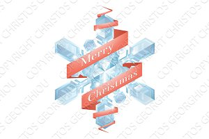 Christmas snowflake with ribbon