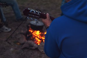 guitar near the campfire
