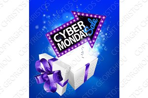 Cyber Monday Sale Gift Box Sign