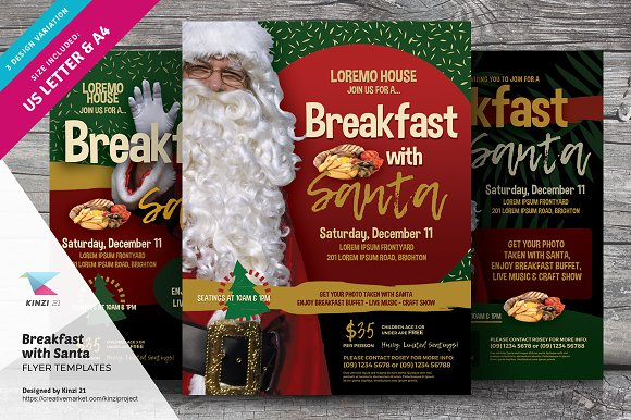 Breakfast With Santa Flyer Templates Flyer Templates Creative Market