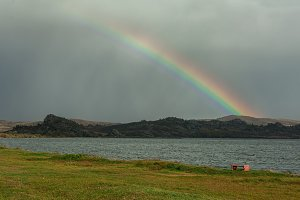 lake and rainbow