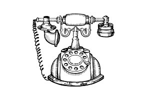 Vintage phone engraving vector illustration