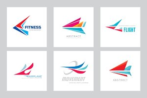 Abstract Airplane Wing Vector Logo