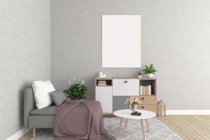 Interior mockup - white frames
