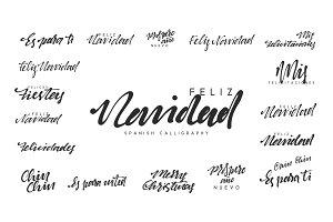 Spanish lettering Feliz Navidad, Felices Navidades, Mis felicitaciones.