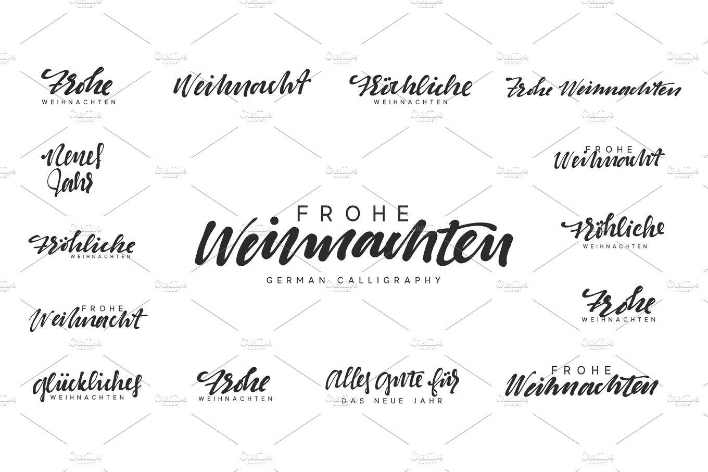 German lettering Frohe Weihnachten, Frohliche Weihnachten ...