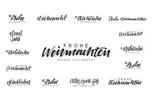 German lettering Frohe Weihnachten, Frohliche Weihnachten.