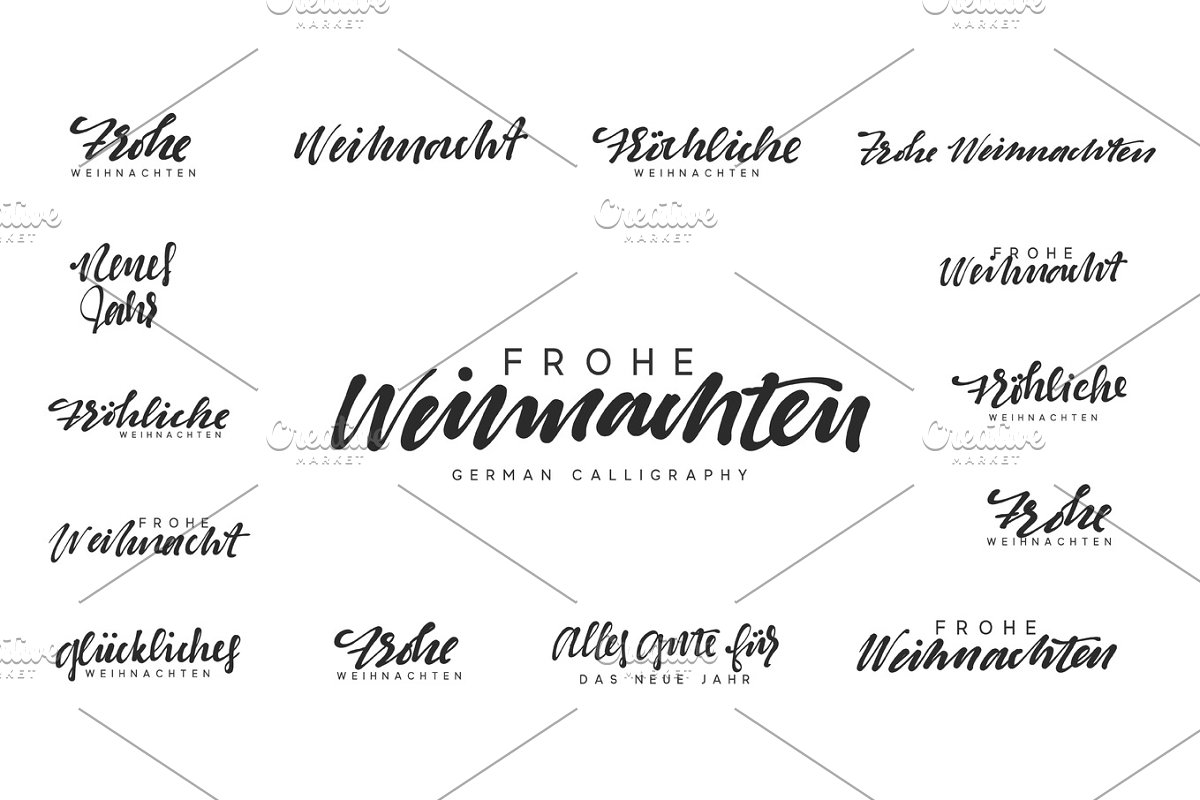 Text Frohe Weihnachten.German Lettering Frohe Weihnachten Frohliche Weihnachten