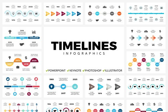 timelines 50 unique slides presentation templates creative market
