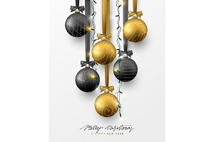 Traditional christmas decoration, hanging on ribbon xmas balls in gold and black colors and christmas lights garland