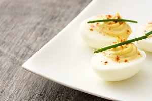 Stuffed eggs with mustard